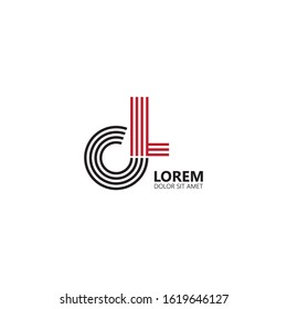 Initial letter cl uppercase modern logo design template elements. Black and red letter Isolated on white background. Suitable for business, consulting group company.