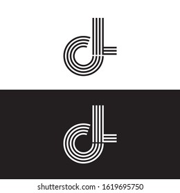 Initial letter cl uppercase modern logo design template elements. Black and white letter Isolated on white and black background. Suitable for business, consulting group company.