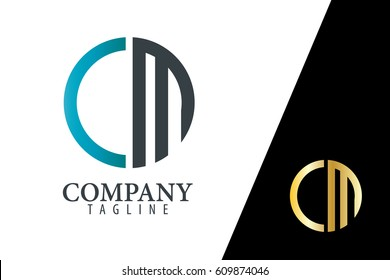 Initial Letter CM With Linked Circle Logo