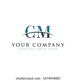 Initial letter CM, overlapping movement swoosh horizon logo company design inspiration in blue and gray color vector