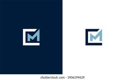 initial letter cm square shape vector