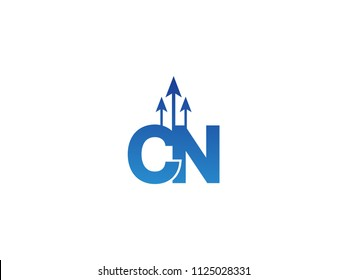 Initial Letter CN Arrow Chart Finance Business
