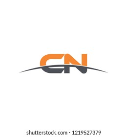 Initial letter CN overlapping movement swoosh horizon logo vector