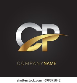 Initial Letter CP Logotype Company Name Colored Gold And Silver Swoosh Design Isolated On Black