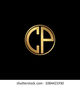 Initial letter CP, minimalist art monogram circle shape logo, gold color on black background