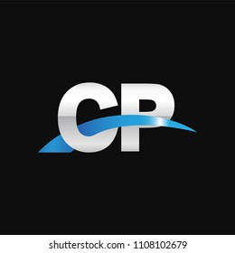 Initial letter CP, overlapping movement swoosh logo, metal silver blue color on black background