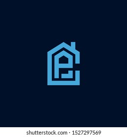 Initial letter CP PC house abstract logo icon design  minimalist monogram property real estate symbol concept  vector