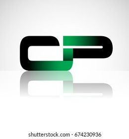 Initial letter CP uppercase modern and simple logo linked green and black colored, isolated in white background. Vector design for company identity.
