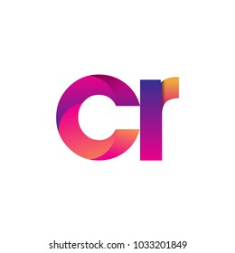 Initial Letter CR Logo Lowercase, magenta and orange, Modern and Simple Logo Design.