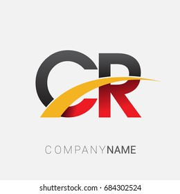 initial letter CR logotype company name colored red, black and yellow swoosh design. isolated on white background.