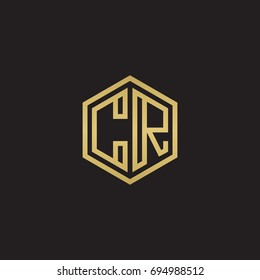 Initial letter CR, minimalist line art hexagon logo, gold color on black background