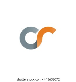 initial letter cr modern linked circle round lowercase logo orange gray