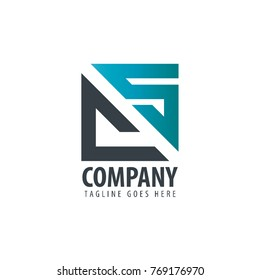 Initial Letter CS Design Square and Triangle Logo
