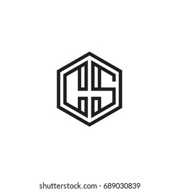 Initial letter CS, minimalist line art monogram hexagon logo, black color