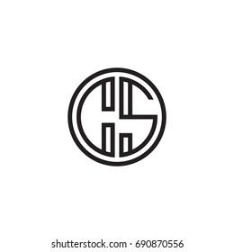 Initial letter CS, minimalist line art monogram circle logo, black color