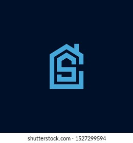 Initial letter CS SC house abstract logo icon design  minimalist monogram property real estate symbol concept  vector