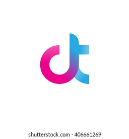 initial letter ct linked circle lowercase logo pink blue purple