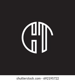 Initial letter CT, minimalist line art monogram circle shape logo, white color on black background