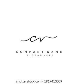 Initial letter CV calligraphy handwritten logo. Handwritten alphabet in the logo template. Letters and Alphabet for your logo design.