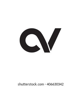 initial letter cv linked circle lowercase monogram logo black