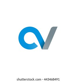 initial letter cv modern linked circle round lowercase logo blue gray