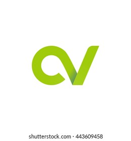 initial letter cv modern linked circle round lowercase logo green