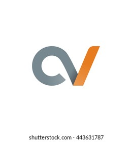 initial letter cv modern linked circle round lowercase logo orange gray