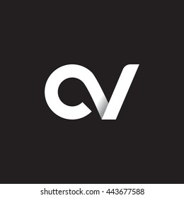 initial letter cv modern linked circle round lowercase logo white black