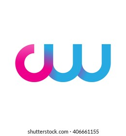 initial letter cw linked circle lowercase logo pink blue purple