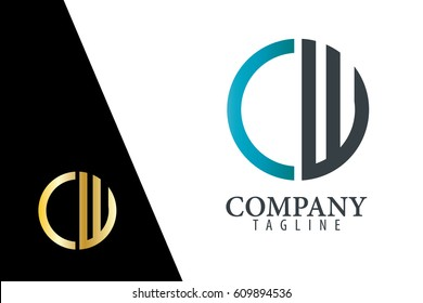 Initial Letter CW With Linked Circle Logo