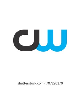 Initial Letter CW Linked Circle Lowercase Logo Black Blue Icon Design Template Element