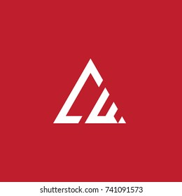 Initial Letter CW Linked Triangle Design Logo