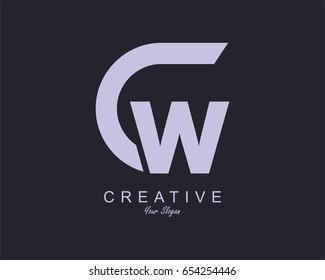 Initial Letter CW Logo Design vector