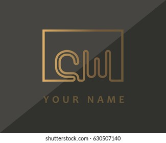 Initial Letter CW Logo Gold Luxury With Box