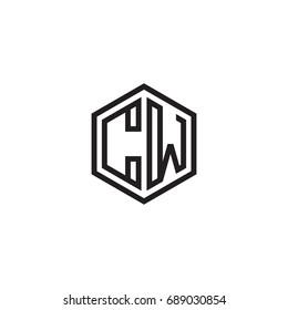 Initial letter CW, minimalist line art monogram hexagon logo, black color