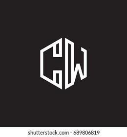 Initial letter CW, minimalist line art monogram hexagon shape logo, white color on black background