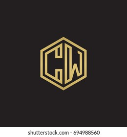 Initial letter CW, minimalist line art hexagon logo, gold color on black background