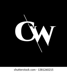 Initial Letter CW Monogram Sliced. Modern logo template isolated on black background