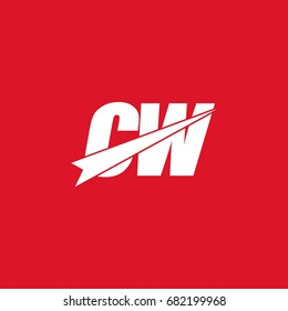 initial letter cw white logo in red background