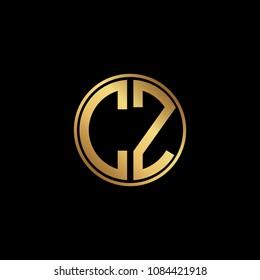 Initial letter CZ, minimalist art monogram circle shape logo, gold color on black background