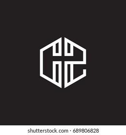Initial letter CZ, minimalist line art monogram hexagon shape logo, white color on black background