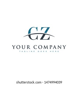 Initial letter CZ, overlapping movement swoosh horizon logo company design inspiration in blue and gray color vector