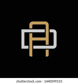 Initial letter D and A, DA, AD, overlapping interlock logo, monogram line art style, silver gold on black background
