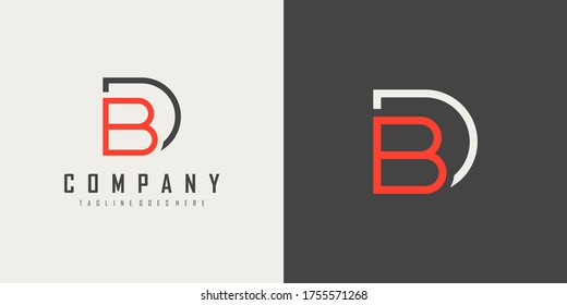 Initial Letter D and B Linked Logo. Geometric Linear Style isolated on Double Background. Usable for Business and Branding Logos. Flat Vector Logo Design Template Element.