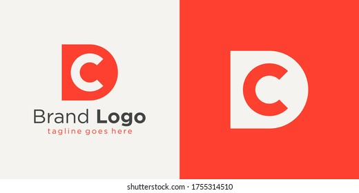 Initial Letter D and C Logo. Red Shape D Letter with Negative Space C Letter inside isolated on Double Background. Usable for Business and Branding Logos. Flat Vector Logo Design Template Element.