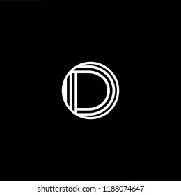 Initial letter D DD DDD DO OD minimalist art monogram shape logo, white color on black background.