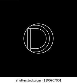 Initial letter D DD OD DO minimalist art monogram shape logo, white color on black background.