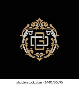 Initial letter D and G, DG, GD, decorative ornament emblem badge, overlapping monogram logo, elegant luxury silver gold color on black background