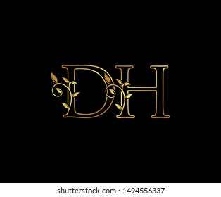 Initial letter D and H, DH, Gold Logo Icon,  classy gold letter monogram logo icon Suitable for boutique,restaurant, wedding service, hotel or business identity.