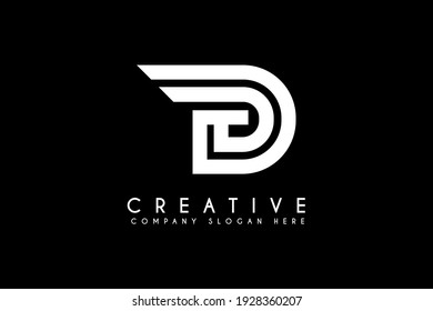 Initial Letter D Logo. isolated on black Background.Flat Vector Logo Design Template Element.